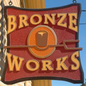 Bronze Works Fine Art Foundry sign, 200 Coral St. Santa Cruz, CA USA