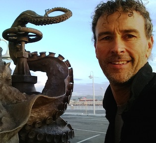 Sean M. Monaghan, MFA - Artist, Foundry owner, Art Instructor, Santa Cruz, CA USA, shown next to his 'Pearl Diver' fountain sculpture, 2016